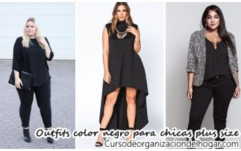 Outfits color negro para chicas plus size