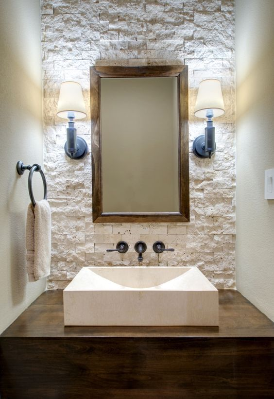20 banos pequenos con madera y piedra te van encantar 14 for Banos en piedra y madera