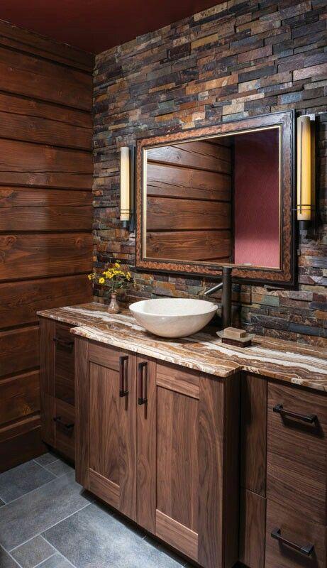 20 banos pequenos con madera y piedra te van encantar 18 for Banos en piedra y madera