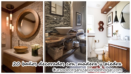 20 baños pequeños con madera y piedra (¡te van a encantar!) - Curso de  Organizacion del hogar y Decoracion de Interiores d1e64ec03424