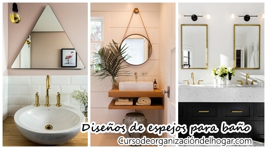 26 dise os de espejos para ba os curso de organizacion del hogar y decoracion de interiores - Espejos biselados para banos ...