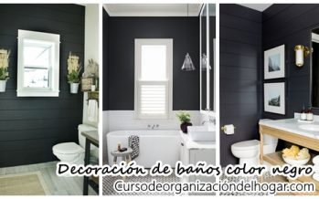 26 ideas para decorar baños con detalles color negro