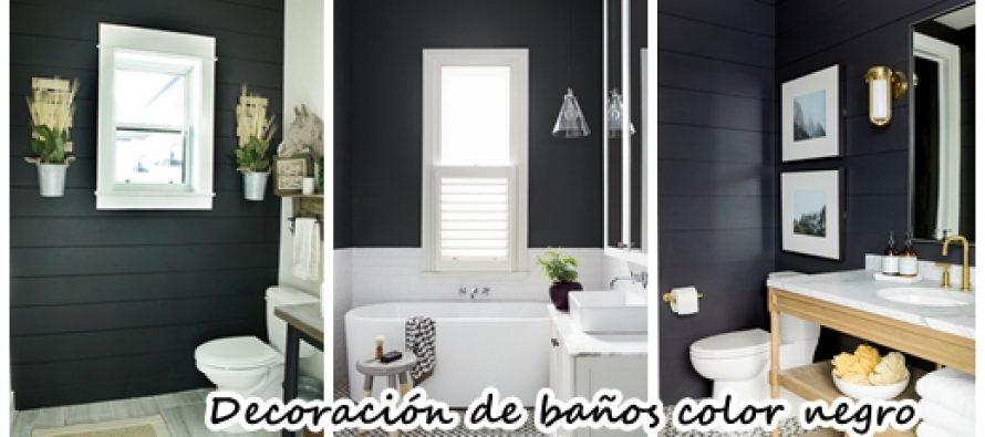 ideas para decorar baos con detalles color negro
