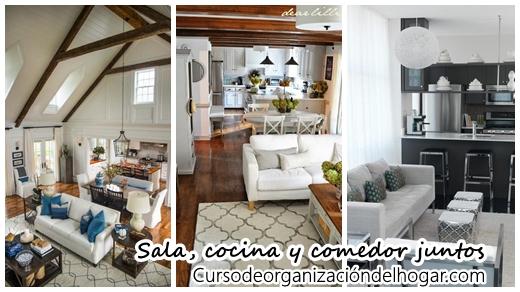 26 Ideas para integrar, sala, comedor y cocina juntos - Curso de ...