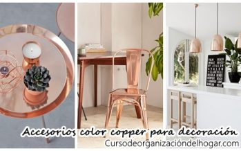 Accesorios color copper para decoración de interiores