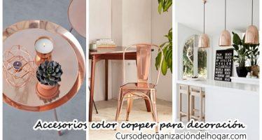 Accesorios color copper para decoración de interiores