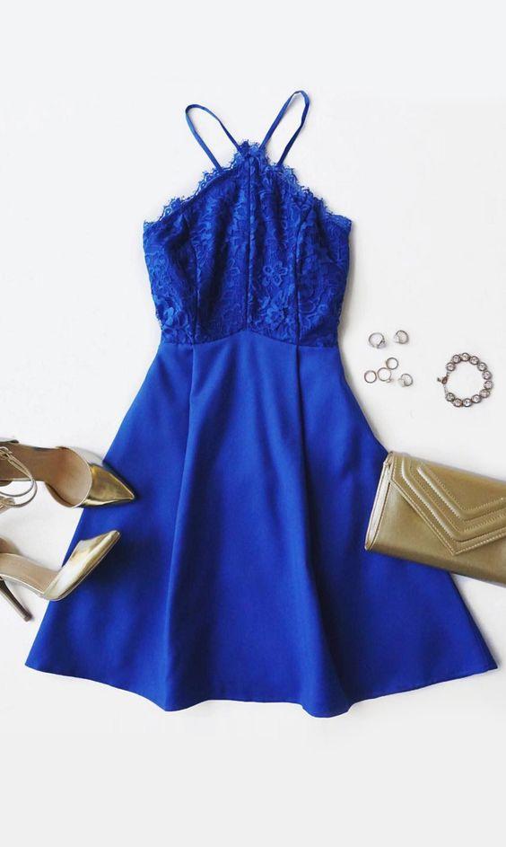 Vestidos de graduacion cortos azul rey