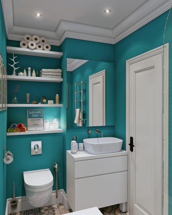 30 disenos de banos decorados con azul turquesa 18 for Aprender diseno de interiores