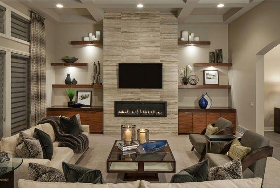 30 disenos de repisas y estantes para salas de estar 18 for Disenos de salas