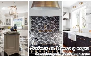32 ideas para decorar cocinas en blanco y negro con detalles dorados