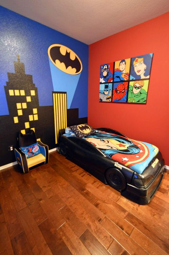 32 ideas para decorar un cuarto de ninos con tema de super for Cuartos decorados jovenes
