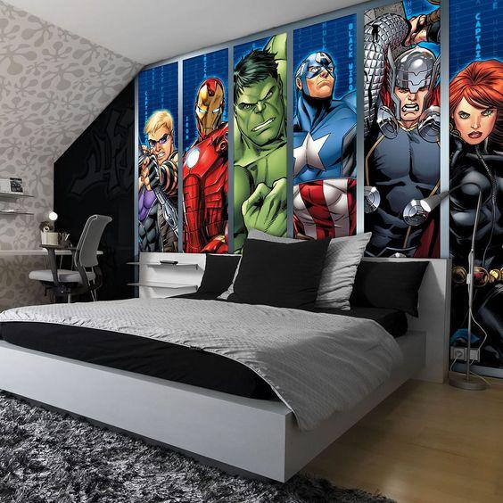 32 ideas para decorar un cuarto de ninos con tema de super heroes 5 curso de organizacion. Black Bedroom Furniture Sets. Home Design Ideas