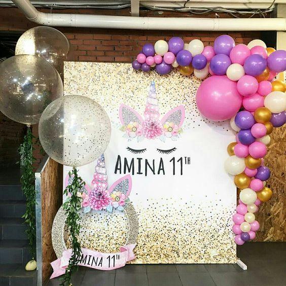 Decoración para fiesta de unicornio