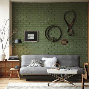 Decoración de interiores en tono verde militar