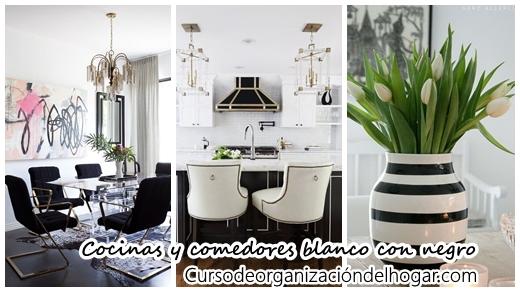 30 Cocinas y comedores elegantes decoradas con blanco y negro ...