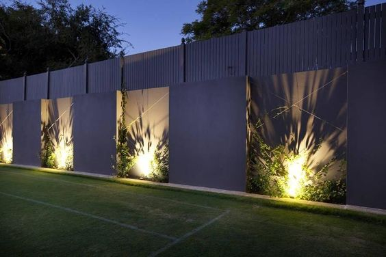 Diseños de Bardas con iluminación inferior o en el suelo 2018