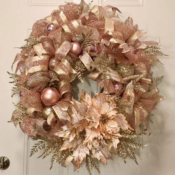 Coronas navideñas rose gold