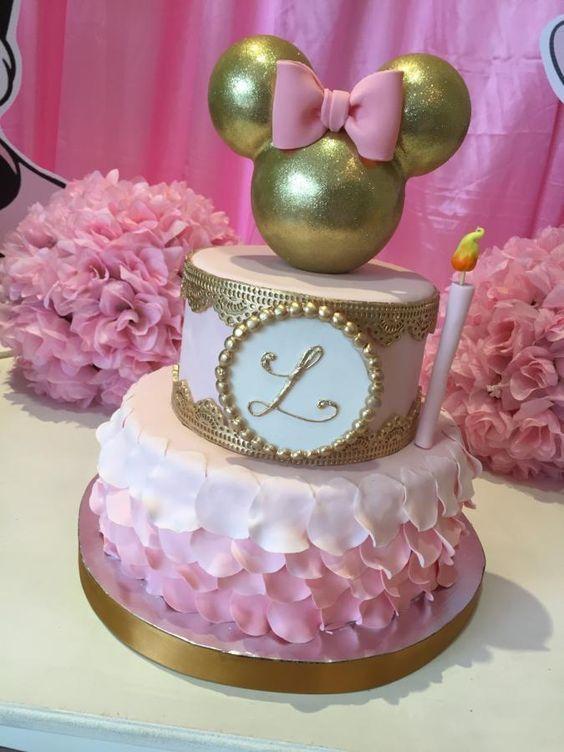 Fiesta infantil de minnie mouse rosa con dorado curso de - Decoracion fiesta rosa ...
