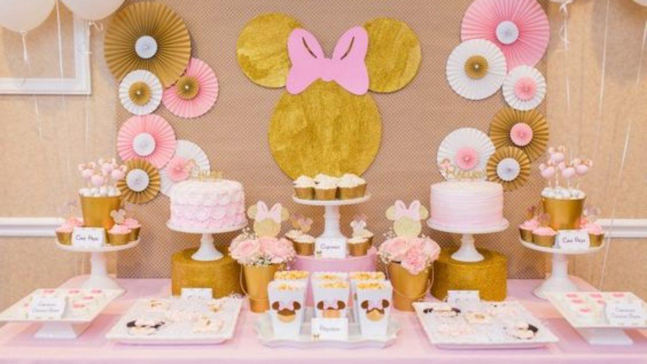 Fiesta Infantil De Minnie Mouse Rosa Con Dorado Curso De Organizacion Del Hogar Y Decoracion De Interiores