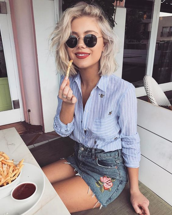 Outfits de verano con faldas de mezclilla curso de organizacion del hogar Outfits for short hair pinterest