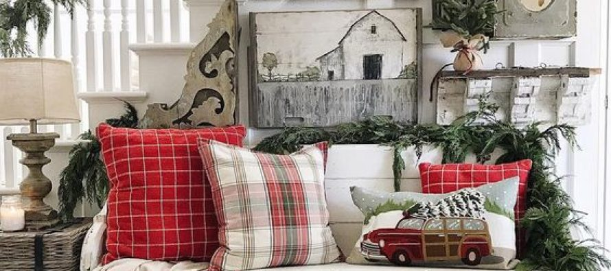 Como decorar entradas esta navidad 2017 for Decoracion navidena rustica