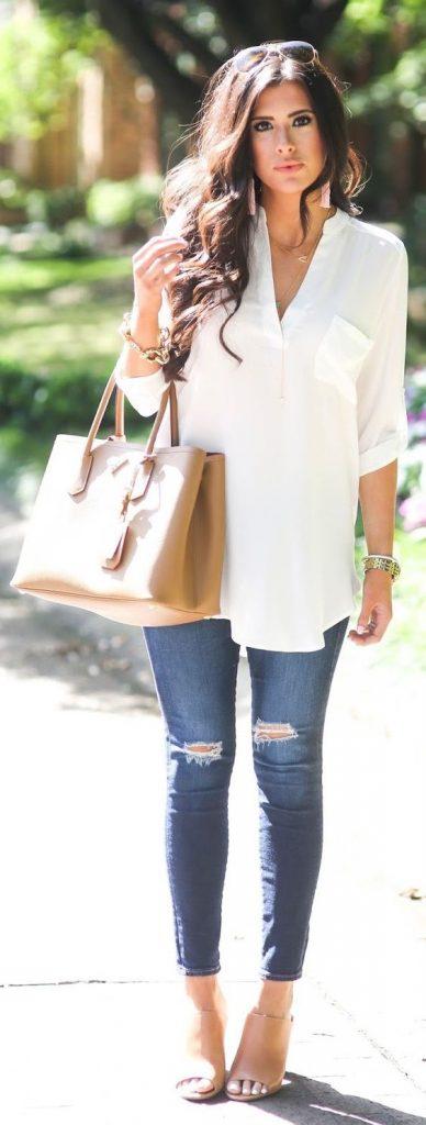Outfits Con Jeans Y Blusas Blancas Curso De Organizacion Del Hogar Y Decoracion De Interiores