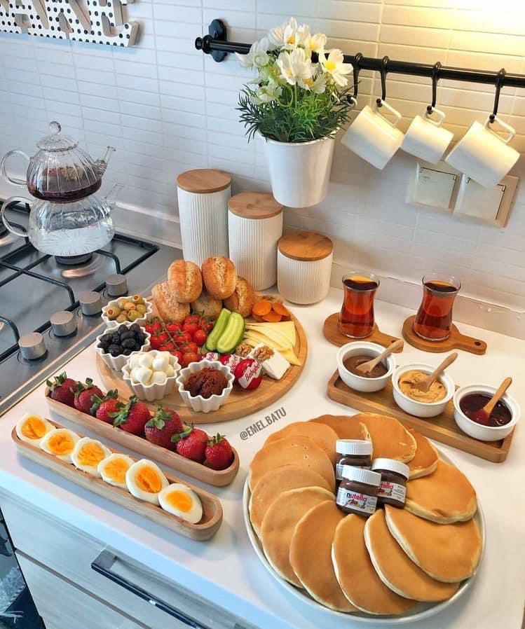 Desayunos con hot cakes familiares