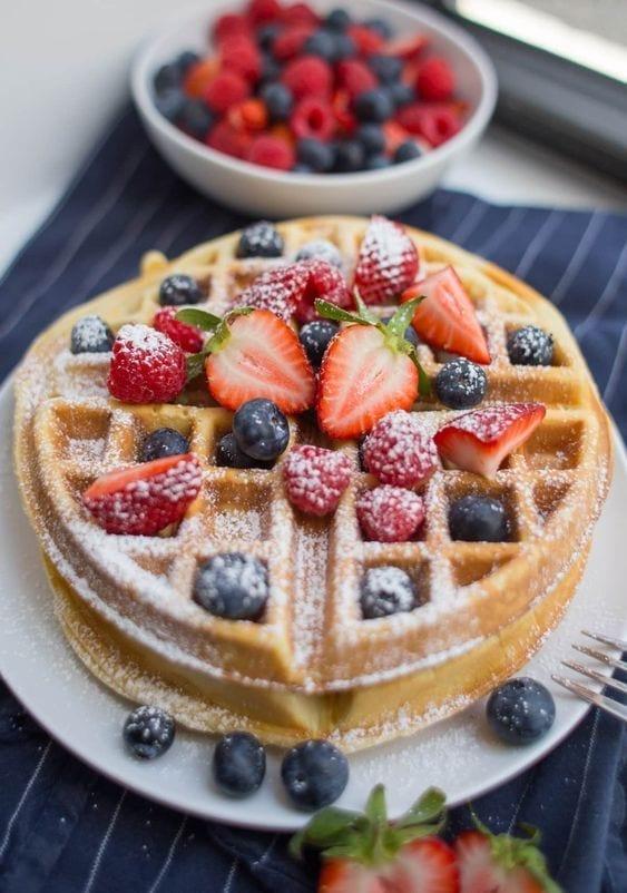 Ideas para desayunos con waffles
