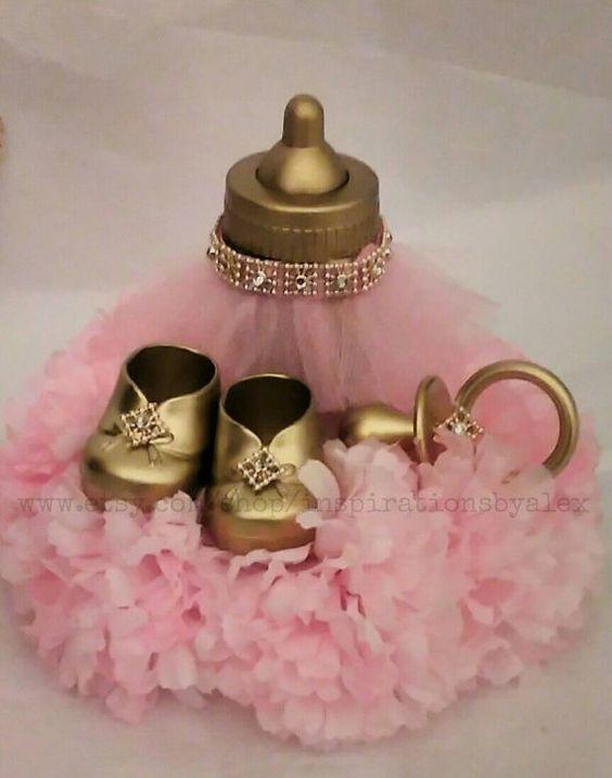 Centros de mesa metálicos para baby shower