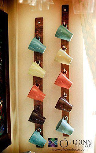 Como organizar tazas en tablas de madera