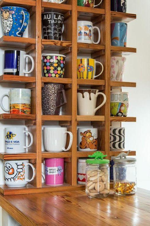 Como decorar con tazas sobre bases de madera