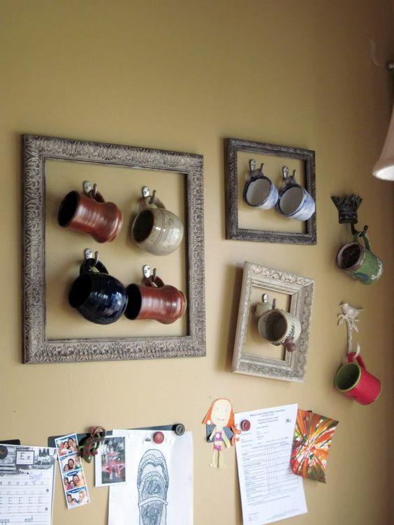 Decora y organiza tazas con marcos de madera
