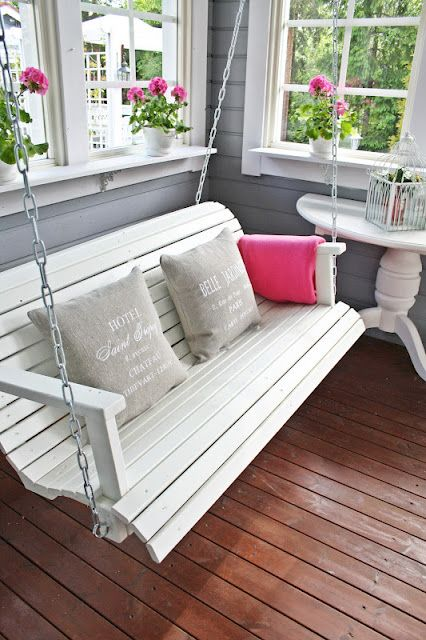 silla columpio para jardín de madera