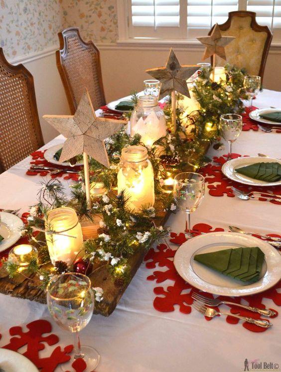 Centros de mesa navide os 2017 2018 con velas y estrellas for Decoracion del hogar con velas