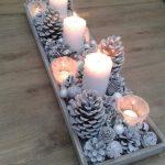 Decoración navideña 2017 en color blanco centro de mesa