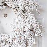 Decoración navideña 2017 en color blanco corona para la puerta