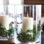 Decoración navideña 2017 en color blanco centro de mesa con velas