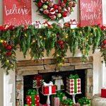 Decoraciones navideñas para tu hogar en color rojo chimenea