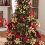 Decoraciones navideñas para tu hogar en color rojo con dorado pino