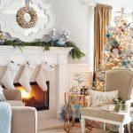 Navidad 2017 tendencias en decoración en blanco chimenea y area de estar