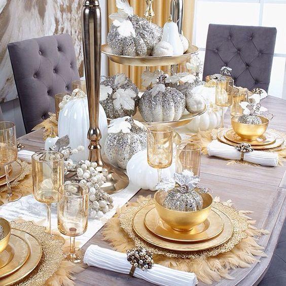 Como decorar la mesa de navidad en dorado y plata