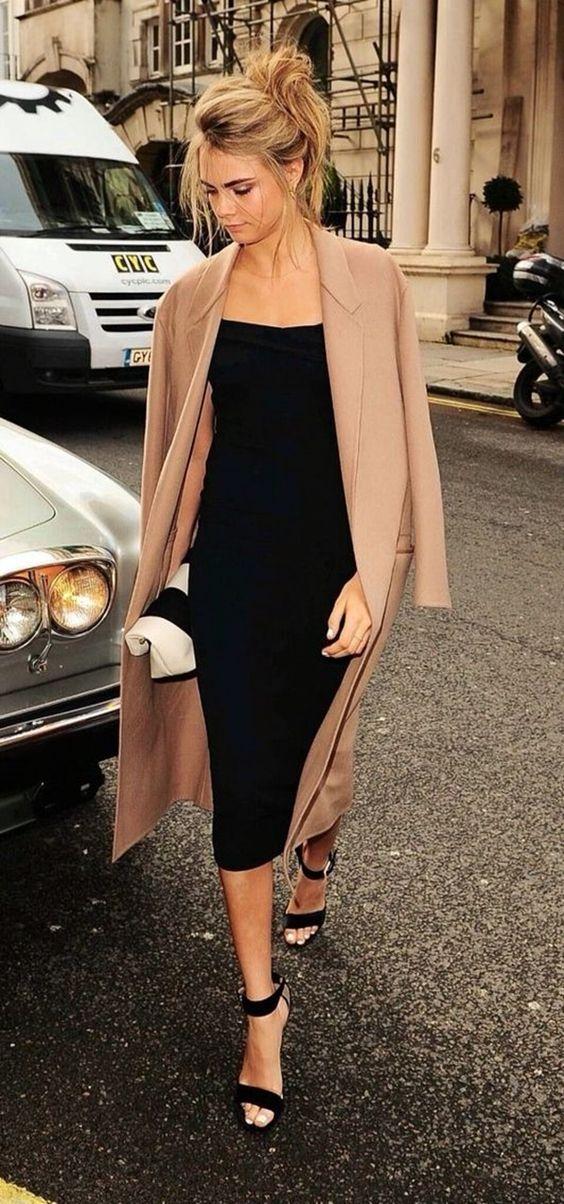 Vestido negro de cóctel maxi - saco en marrón