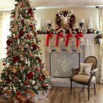 Propuestas novedosas de decoración navideña 2017 chimenea y arbol