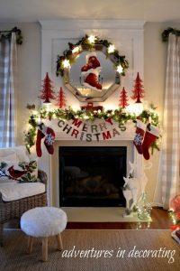 Propuestas novedosas de decoración de navidad 2017 - 2018 chimenea blanca