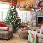Propuestas novedosas de decoración de navidad 2017 - 2018 sala con chimenea