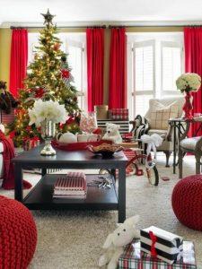 Propuestas novedosas de decoración de navidad 2017 - 2018 sala roja