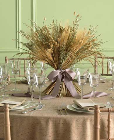 Adornos de mesa para primera comunión con espigas