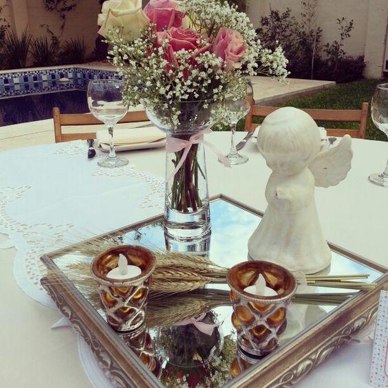 Adornos de mesa para primera comunión