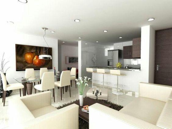 Decoraci n de sala comedor y cocina en una sola habitaci n - Iluminacion para cocina comedor ...