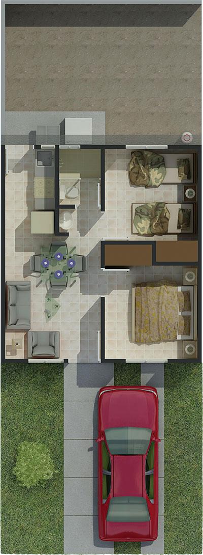 Plano para casa de 38 m2